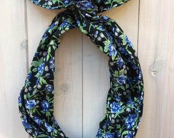Underwired Head Band, Underwired head twist with gypsy blue floral pattern fabric, vintage-inspired head band, 1940s Land girl look