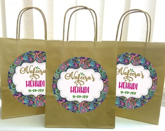 Personalised mehndi favour bags,bachelorette party,mehndi party bags,favor party bags, hen night party bags 12 colors