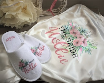 Personalised wedding robe & slipper set,personalized dressing gown and slippers,bridal party dressing gown and slipper set, wedding gift