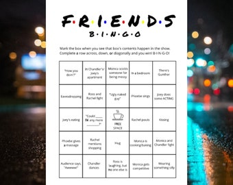 FRIENDS Bingo Game Watch Party (8) Printable Cards TV Series Show