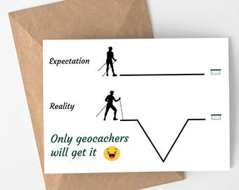 Expectation Reality - Geocaching Card for Outdoorsman - Hikers and Backpackers