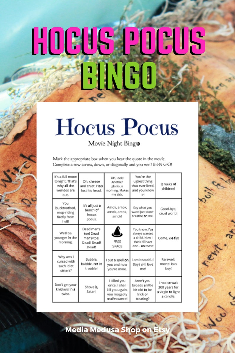8 Hocus Pocus Halloween Party Bingo Game Printable Cards