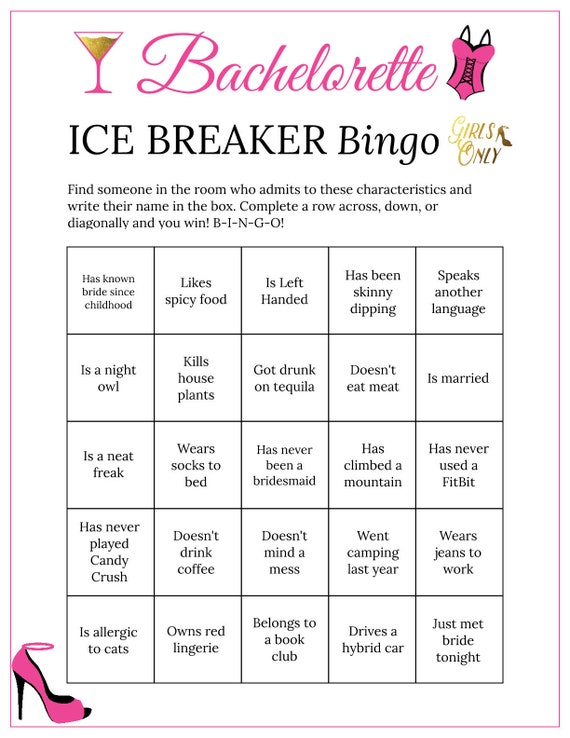 photograph about Musical Bingo Cards Printable named Bachelorette Bash Bingo Playing cards Printable Sport Ice Breaker Receive in the direction of Comprehend Oneself