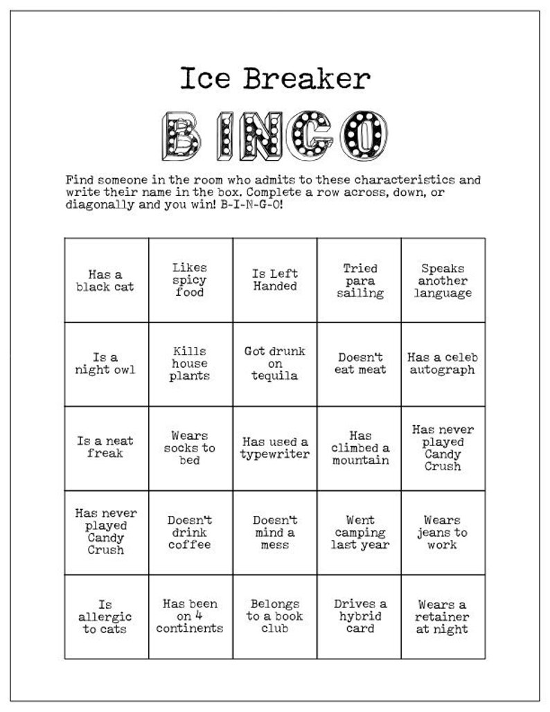 picture about Getting to Know You Printable named Printable Ice Breaker Activity Human Bingo Playing cards Consider towards Understand Your self
