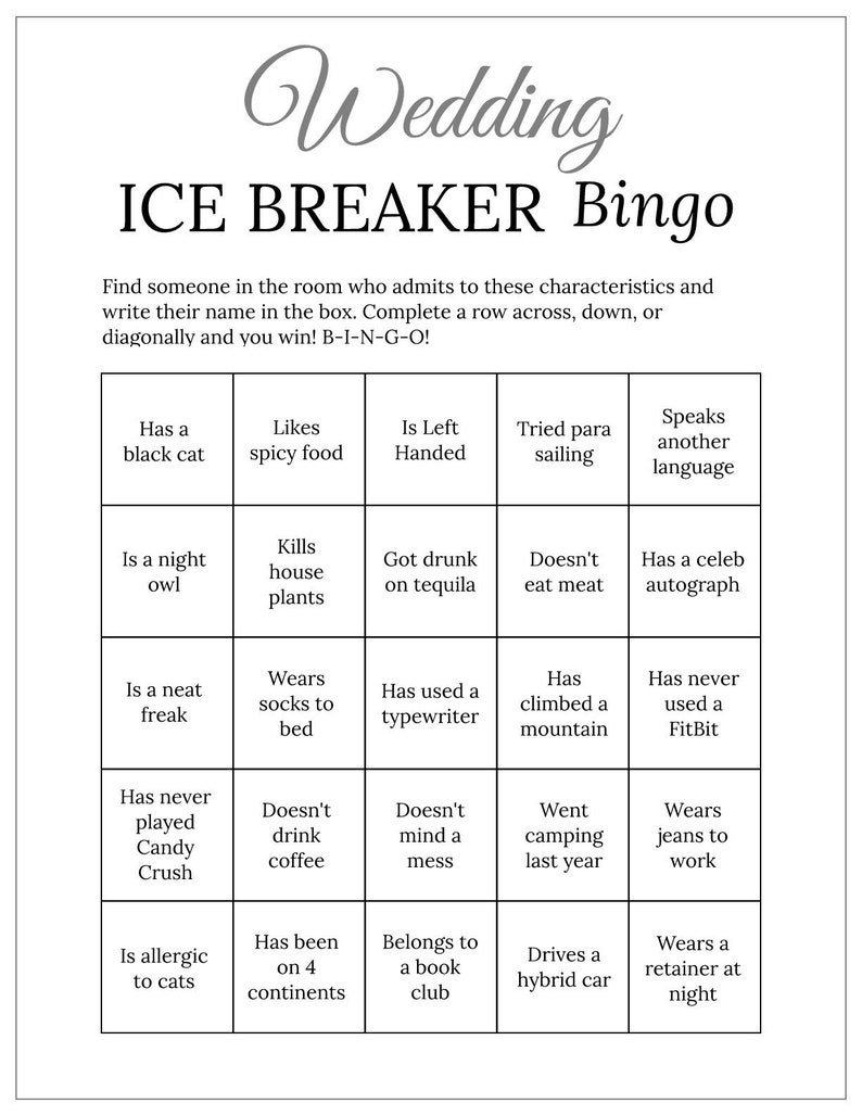 graphic regarding Getting to Know You Printable referred to as Grey Bridal Shower Marriage Ice Breaker Human Bingo Playing cards Printable Attain in the direction of Understand On your own