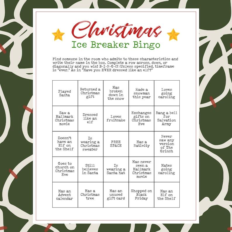 Christmas Party Icebreaker Questions.Ice Breaker Game Christmas Party Wedding Bridal Bachelorette Human Bingo