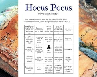 Hocus Pocus Halloween Party Bingo Game (8) Printable Cards