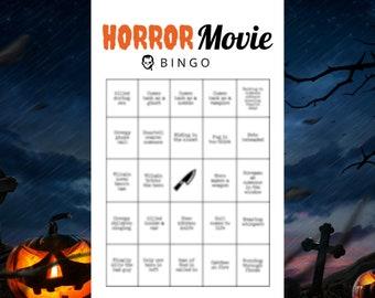 Halloween Movie Watch Party Bingo Game (8) Printable Cards Netflix Disney Plus Amazon Hulu GroupWatch
