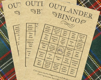 Outlander Party Bingo Cards (8) Game Instant Download Printable TV Premiere