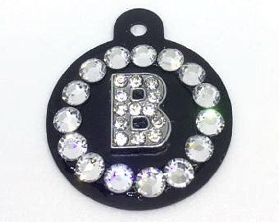 Bling Crystal Rhinestone Round Initial Personalized Dog Cat Pet Collar ID Tag Charm USA - Color Choice