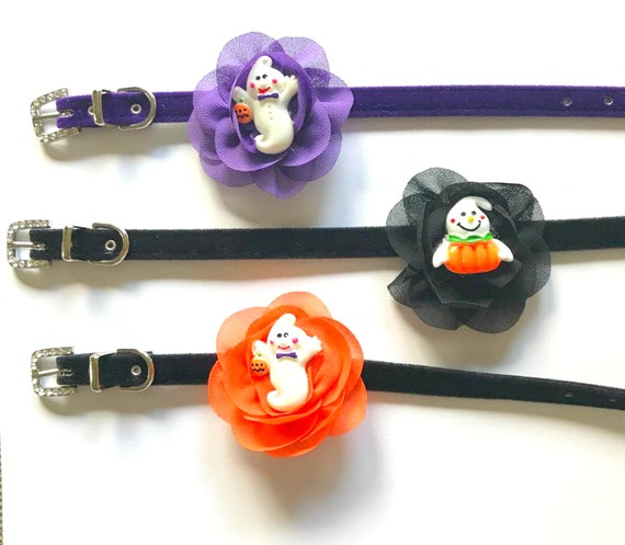 Halloween Ghost in Purple, Orange or Black Flower Choice on Velvet Pet Dog Cat Collar USA Sizes XXS through ML