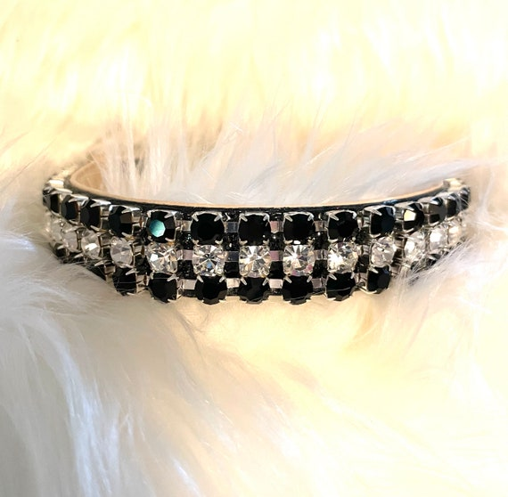 Lightning in the Moonlight ~Michael David Designs~ WIDE Crystal Rhinestone Dog Pet Collar Black & Diamond Clear USA