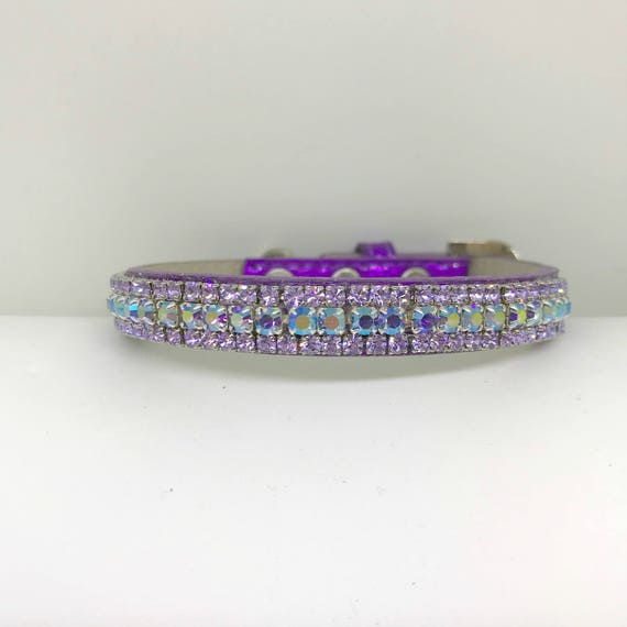 Violet Lavender Purple Rainbow Crystal Bling Rhinestone Pet Dog or Cat Safety Necklace Collar  XXS - 3XL USA