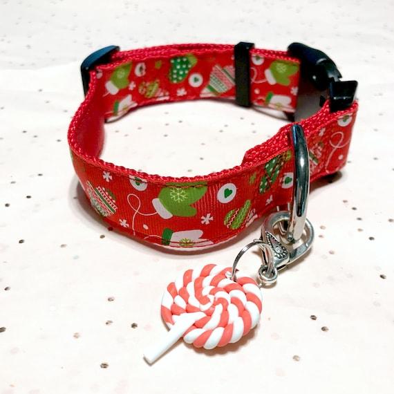 Christmas Mittens in Red & Green ~ Adjustable Quick Release ~ Rhinestone Buckle Crystal Rhinestone Pet Dog Collar Medium - 2XL  USA