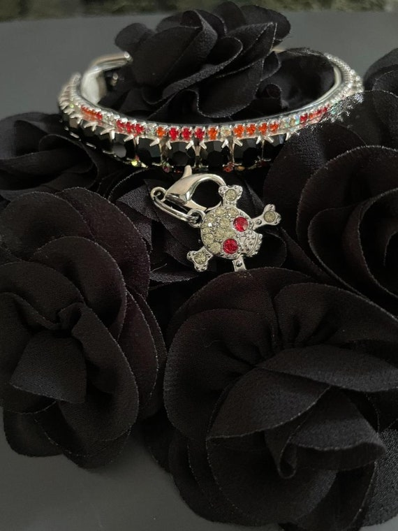 Black & Orange AB Halloween + Skull Charm Crystal Bling Rhinestone Pet Dog or Cat Safety Necklace Collar Big or Small -  USA