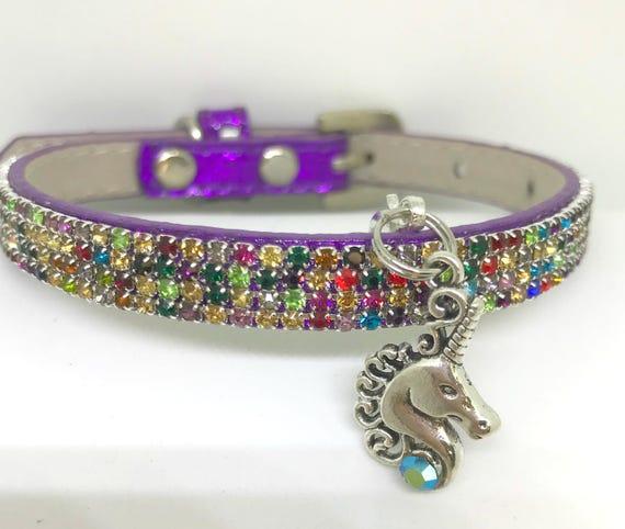 Bling  ~Purple Aurora Rainbow Unicorn~Crystal Bling Rhinestone Pet Dog or Cat Safety Necklace Collar USA