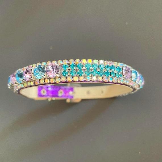 Venus In Lavender & Aqua Blue Aurora Borealis ~ Michael David Designs~  Crystal Rhinestone Bling Purple Dog Cat Pet  Collar USA