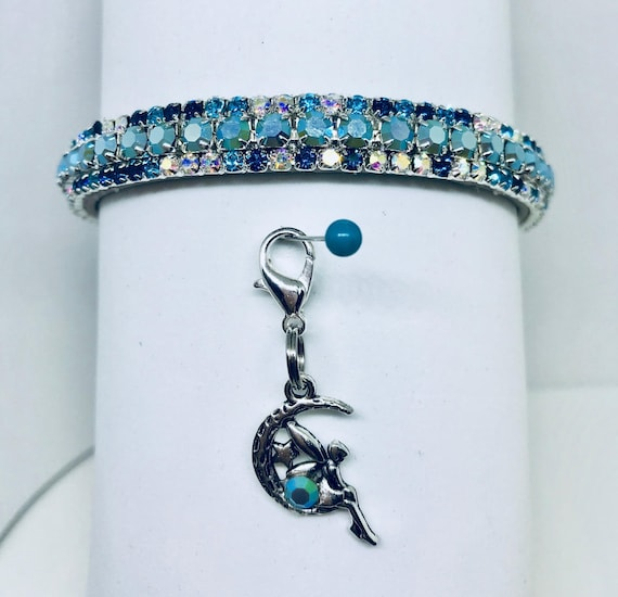 Bling  ~Fairy Mist in Aqua Aurora~ Crystal Bling Rhinestone Pet Dog or Cat Safety Necklace Collar USA
