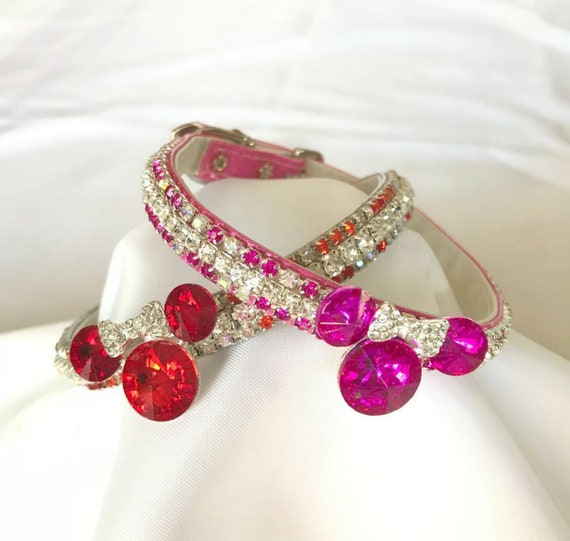 Disney Inspired ~ Minnie Mouse Red or Pink~ Crystal Bling Rhinestone Pet Girl Dog or Cat Safety Collar Necklace USA Wholesale Boutique