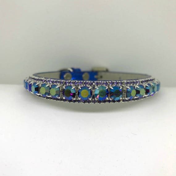 Bling Purple Aurora Tanzanite on a Blue Moon~ Crystal Bling Rhinestone Pet Dog or Cat Safety Necklace Collar