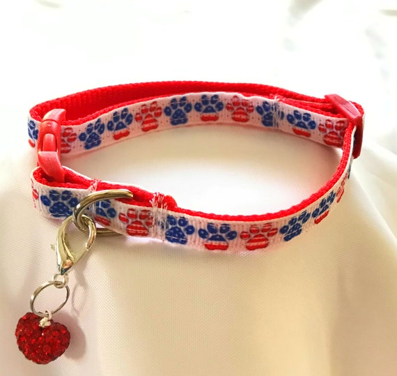 Patriotic Red White Blue  + Red Heart Rhinestone Charm~ Adjustable Quick Release Buckle Pet Dog Cat Collar USA