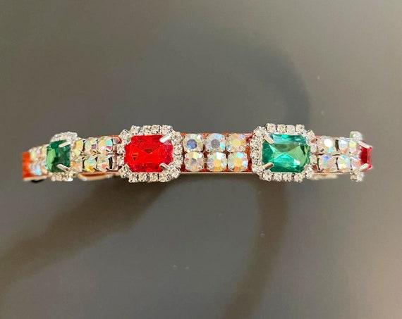 Emerald & Ruby Christmas Dreams ~ Emerald Cut Green and Red  Crystal Rhinestone Bling Dog Cat Pet  Collar USA