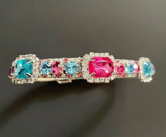 Dreaming in Pastels ~ Pink Aqua Emerald Cut  Crystal Rhinestone Bling Dog Cat Pet  Collar USA