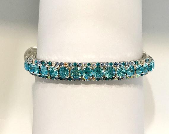 Aqua Kitty on a Crescent Moon~ Crystal Bling Rhinestone Cat Safety Necklace Collar U