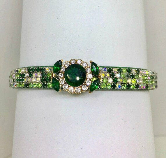 Emerald Aurora Green Forest Flower~ Crystal Bling Rhinestone Pet Dog or Cat Safety Necklace Collar USA