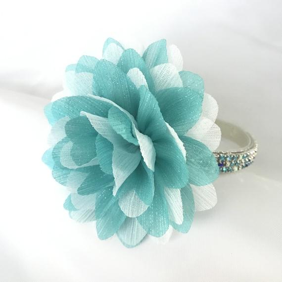 Fun Fetti in Aqua Blue ~ Flower Bling Rhinestone Pet Dog or Cat Safety Collar USA