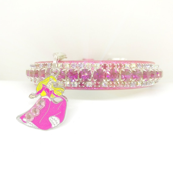 Pink Disney Sleeping Beauty Charm Crystal Pink Princess Bling Rhinestone Pet Dog or Cat Safety Necklace Collar