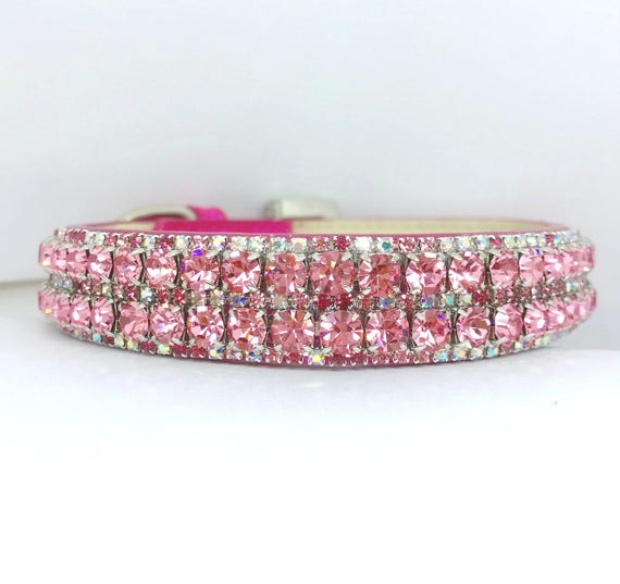 Rose Pink & Aurora Borealis~Crystal Bling Rhinestone Girl Dog Pet Necklace Collar USA