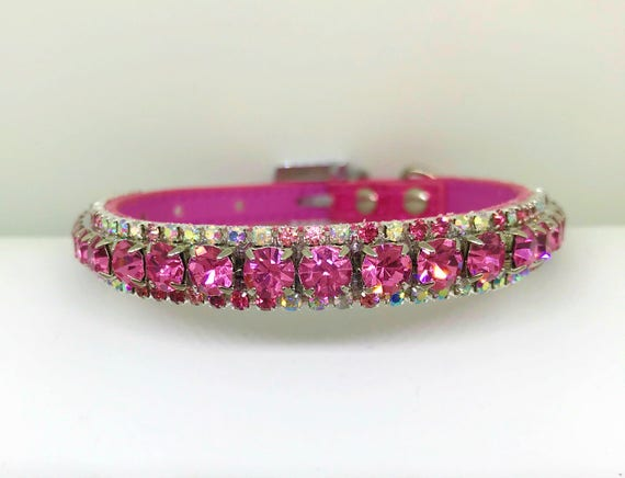 Magical Pink Clouds Crystal AB Bling Rhinestone Pet Girl Dog or Cat Safety Collar XXS - 3XL USA