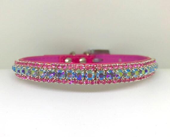 Bling  ~Pink & Purple Lavender Aurora Violet~ Crystal Bling Rhinestone Pet Dog or Cat Safety Necklace Collar USA