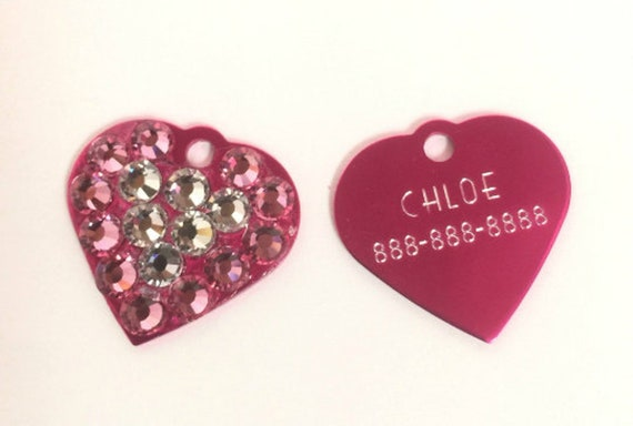 """Bling Bubble Crystal Rhinestone Small 3/4"""" Heart  Personalized Dog Cat Pet Collar ID Tag Charm USA - Color Choice Pink Blue Purple Etc. USA"""