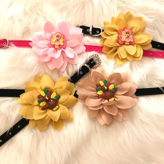 Thanksgiving Turkey ~ Flower on Velvet~Bling Rhinestone Pet Dog or Cat Safety Collar Color Choice