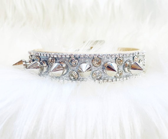 Wide Silver and Bad to the Bone -Spikes & Diamond Crystals Bling Rhinestone Pet Girl Dog Sizes Small thru 3XL USA