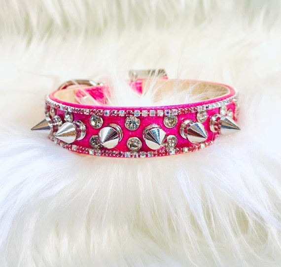 Wide and Bad to the Bone - Pink Spikes &  Diamond  AB Crystals Bling Rhinestone Pet Girl Dog Sizes Small thru 3XL USA