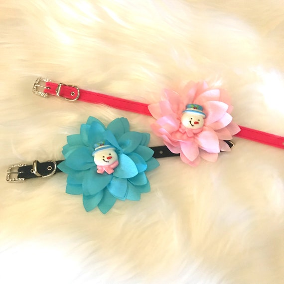 Holiday Christmas Snowman Pink & Aqua  ~ Flower on Velvet~Bling Rhinestone Pet Dog or Cat Safety Collar Color Choice