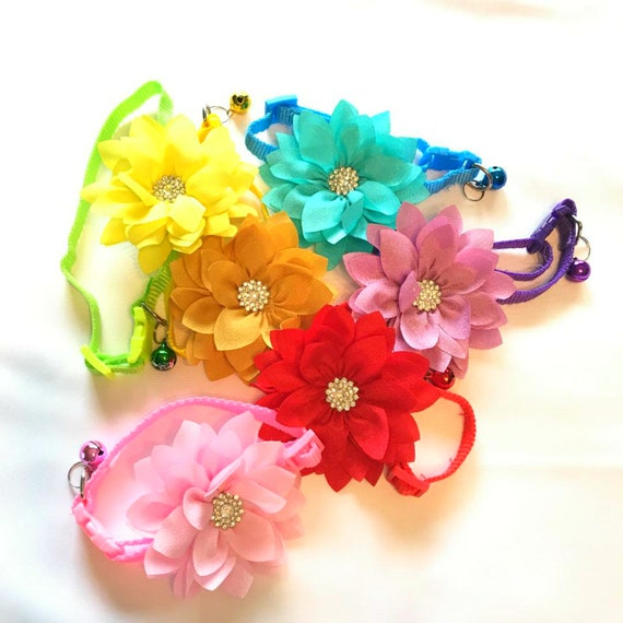 Rhinestone Bling Flower ~ Adjustable Quick Release Buckle Pet Dog Cat Girl Boy Pink Blue Yellow Lime Green Red Purple  Collar USA