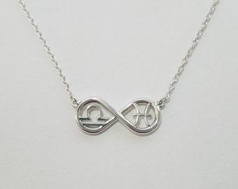Libra & Pisces Infinity Zodiac Necklace