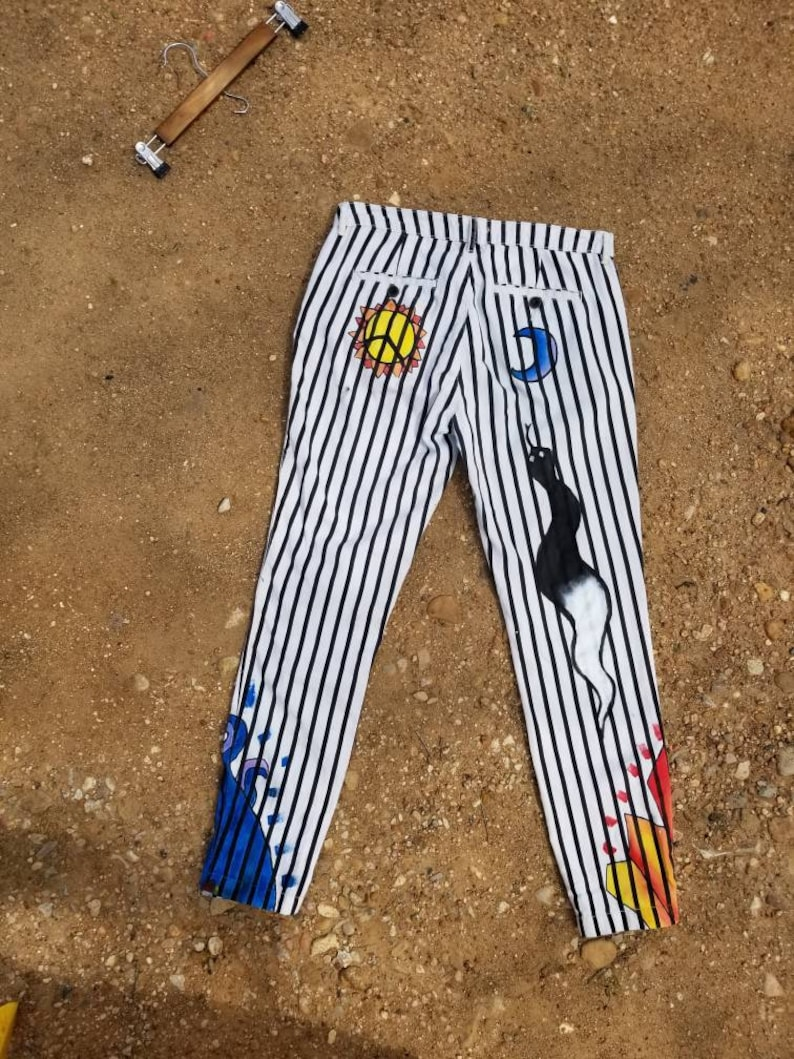 Hand-painted Balance of Elements Striped Pants