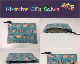 Zip Clutch / Purse / Bag / Pouch - Echidnas Blue