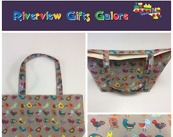 Large Tote Bag - Birds Taupe