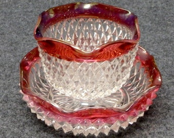 Indiana Glass Diamond Point Ruby Band Sauce/Mayo Set