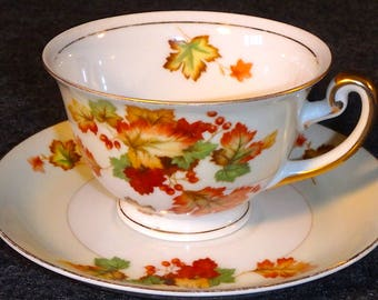 Meito China Cup & Saucer - Hand Painted - Made in Japan