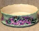 Antique Limoges Violets Pudding Dish T V France Depose Hand Painted