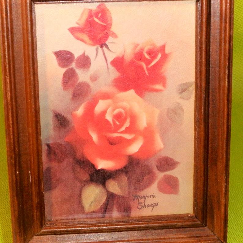 Marjorie Sharpe ~ Litho Print of Pink Roses ~ Vintage 1970/'s