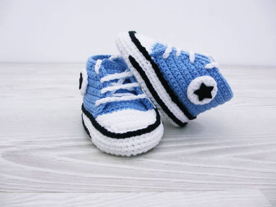 Gehäkelte Babyschuhe, Baby Turnschuhe, blau Babyschuhe, Neutral Baby Dusche 0 3 Monate