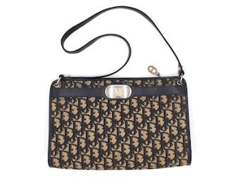 b12b2f5f9350f Authentic Christian Dior Vintage Trotter Navy Shoulder Bag
